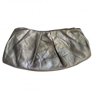 Prada pleated leather clutch bag