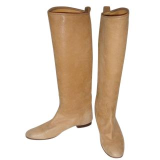 Hermes beige leather riding boots