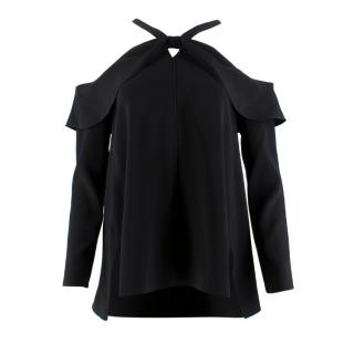 Proenza Schouler Cold-Shoulders Long Sleeved Black Top