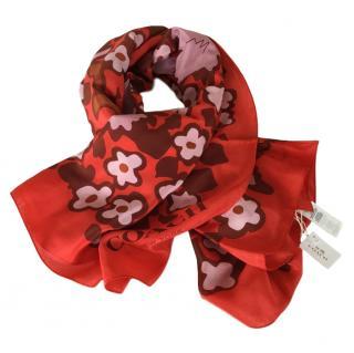 Coach floral-print coral silk scarf