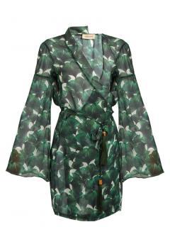 Adriana Degreas Ginkgo-Print Silk-Chiffon Wrap Kaftan