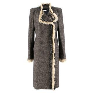 Alexander McQueen Long Wool-blend Tweed Coat