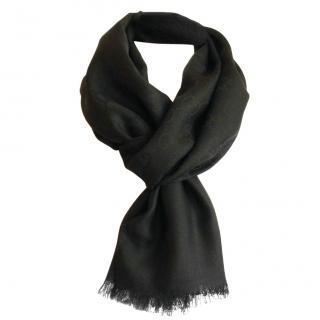 Gucci Black Wool & Silk Scarf
