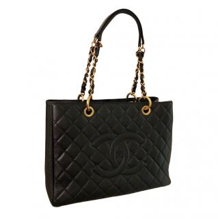 Chanel Grand Shopper black quilted leather tote