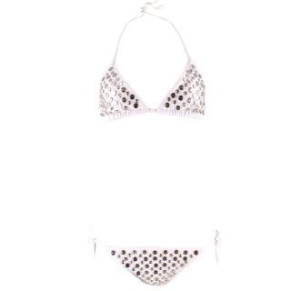 OMO White Studded Bikini Set