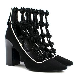 Fabrizio Viti Black Daisy-Applique Ankle Boots