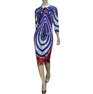 Miu Miu Butterfly Tie Dye-Print Silk-Satin Dress
