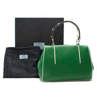 Prada Green Leather Top Handle Bag