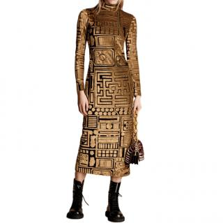 Burberry Stretch Velvet Devore Bodycon Dress