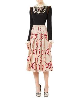Gucci Embroidered Wool Knit Top with Mink Fur