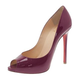 56f4ac52a998 Christian Louboutin burgundy patent leather shoes