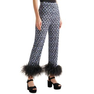 Prada Feather-Trimmed Printed Crepe De Chine Pants