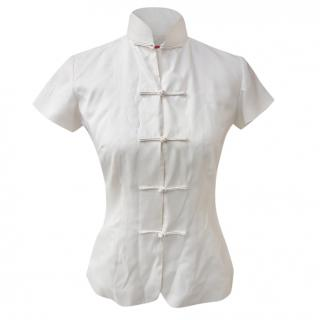 Shanghai Tang Mandarin-collar silk blouse