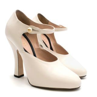 Gucci White 'lesley' Ankle Strap Pumps