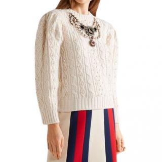 Gucci Cream  Embroidered Wool Cable Knit Sweater