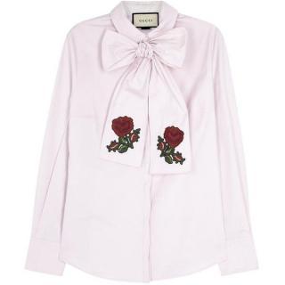 Gucci Light pink bow-embellished shirt