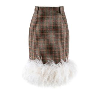 Prada Feather-trimmed Houndstooth Wool Skirt