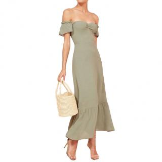 Reformation The Butterfly Off-Shoulder Midi Dress