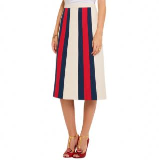Gucci Striped wool and silk-blend crepe skirt