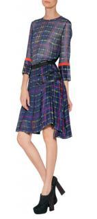 Preen Line plaid pleated silk skirt
