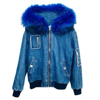 Jane & Tash Fur-Trimmed Denim Bomber Jacket