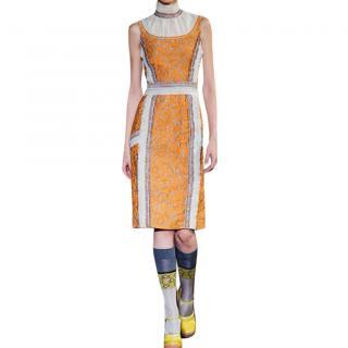 Prada Floral-Cloque Pencil Dress