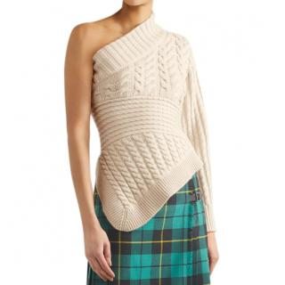 Burberry Cable-Knit One-Shoulder Cashmere Sweater