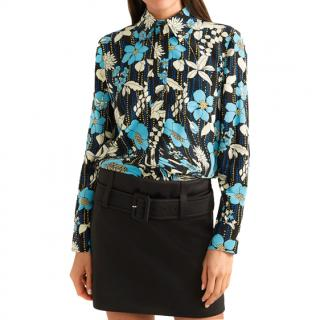 Prada Floral-print Silk Crepe De Chine Blouse - New Season