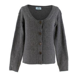 Prada Grey Cashmere Knit Cardigan