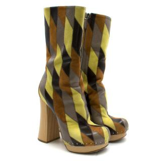 Prada Brown and Yellow Leather Platform Boots