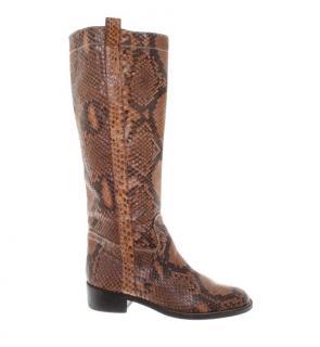 Valentino Python Tall Pull-On Boots