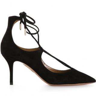 Aquazzura Black Christy 75 Lace-up Pumps