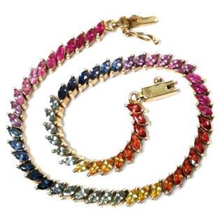 Rainbow Sapphire Tennis Bracelet Yellow Gold