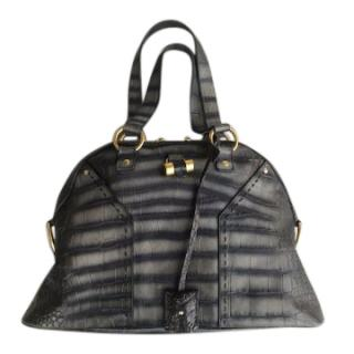 YSL Croc Embossed Muse Bag Large