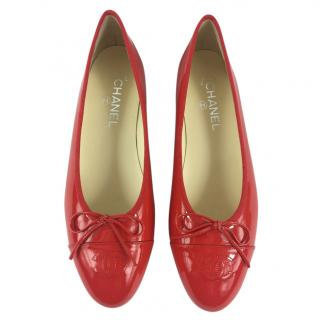 Chanel Red Coral Patent Leather Ballet Flats
