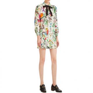 Gucci floral snake-print ruffle-trimmed shirt dress