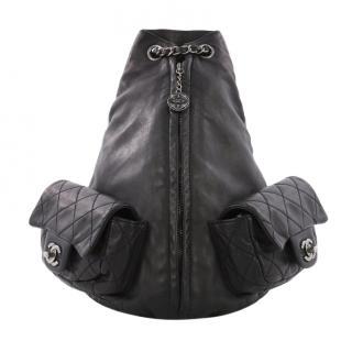 Chanel Large Black Leather Backpack
