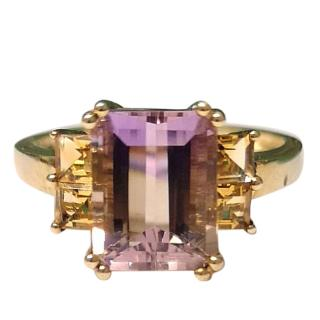 Bespoke Amethyst & Citrine Yellow-Gold Ring