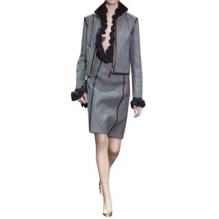 Gucci Grey Herringbone-Tweed Pencil Skirt