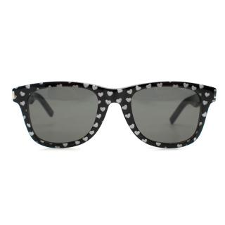 Saint Laurent Bold2 Heart Print Round Sunglasses