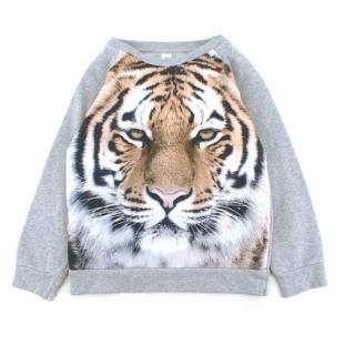 Popupshop Boys' Age: 7-8 Tiger Print Grey Jumper