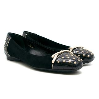 Tod's Black Bow Suede Ballet Flats