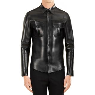 Gucci black leather overshirt
