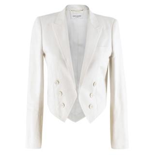 Saint Laurent Runway cropped white blazer
