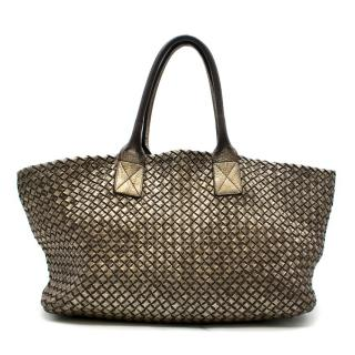 Bottega Veneta Metallic Limited Edition Cabat Pewter Calf Tote