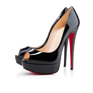 Christian Louboutin Lady Peep patent leather pumps