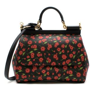 Dolce & Gabbana Black Floral Print Sicily Bag