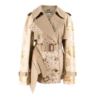 Alexander McQueen Tan Floral Embroidered Short Trench Coat