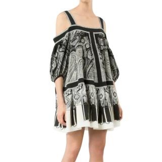 Alexander McQueen Black and White Paisley Dress