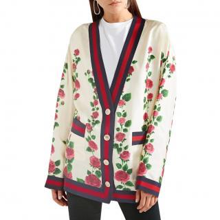 Gucci floral-print silk cardigan